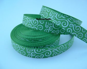 5 Yards 3/8 Inch Bud Green with White Loops Grosgrain Ribbon