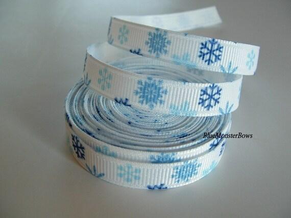 LAST ONE 5 Yards 3/8 Inch Blue Snowflake Grosgrain Ribbon Hairbows Scrapbooking Korkers