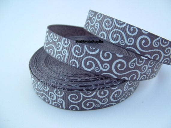 5 Yards 3/8 Inch Metal Gray with White Loops Grosgrain Ribbon