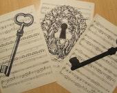 shabby chic skeleton keys and lock on vintage sheet music lot of 3
