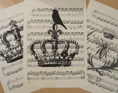 french market crowns vintage sheet music design 4 lot of 3