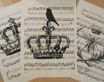 french market crowns vintage sheet music design 4 lot of 3
