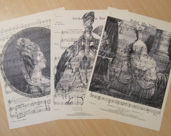 french market marie antoinette vintage sheet music set of 3