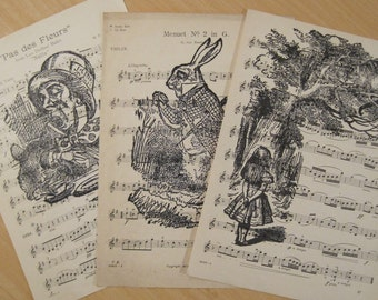 alice in wonderland vintage sheet music lot of 3