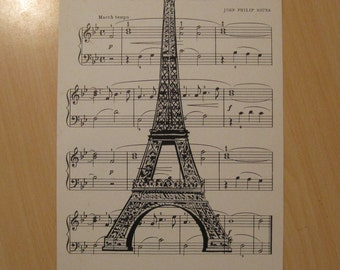 french market eiffel tower vintage sheet music