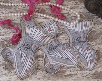 french market vintage french corset tags set of 3