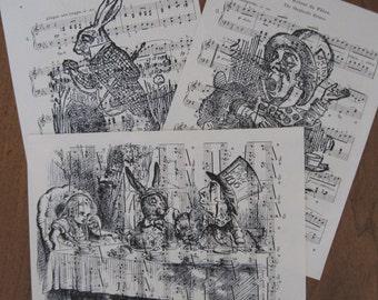 NEW design alice in wonderland vintage sheet music lot of 3