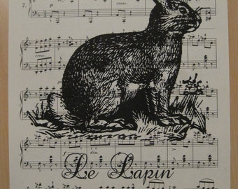 french bunny le lapin on vintage sheet music