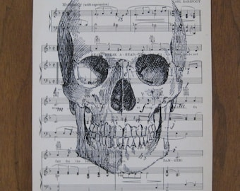 As Seen in Real Simple creepy halloween skull shabby chic vintage sheet music