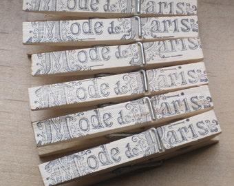 french market mode de paris french clothes pins set of 6