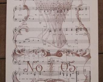 NEW vintage corset no. 5 french market vintage sheet music