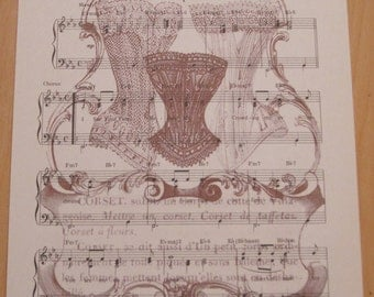 NEW vintage corsets french market vintage sheet music