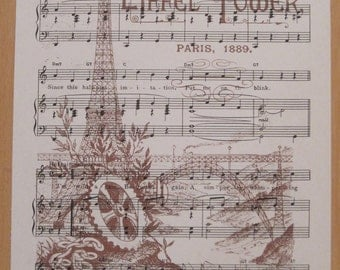 NEW eiffel tower french market vintage sheet music