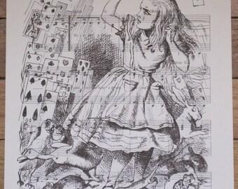 alice in wonderland alice  deck of cards vintage sheet music