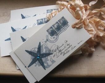 french market etoile de mer (starfish) paris postcard tags set of 9