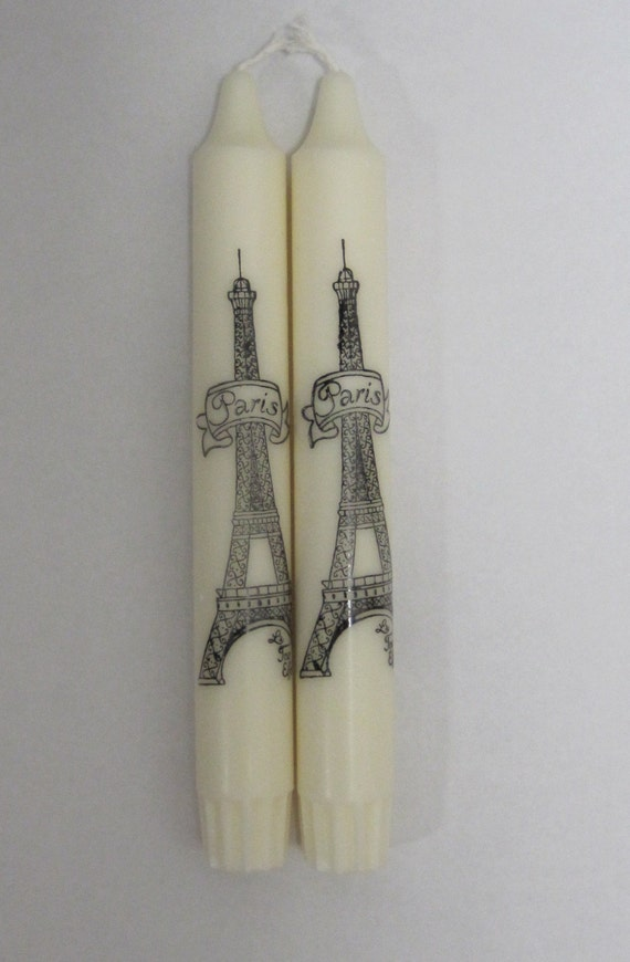 Paris Hand-Stamped Shabby Chic Candles Lot of 2