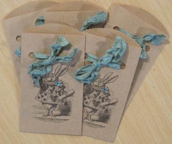 alice in wonderland white rabbit shabby chic paper sacks lot of 5
