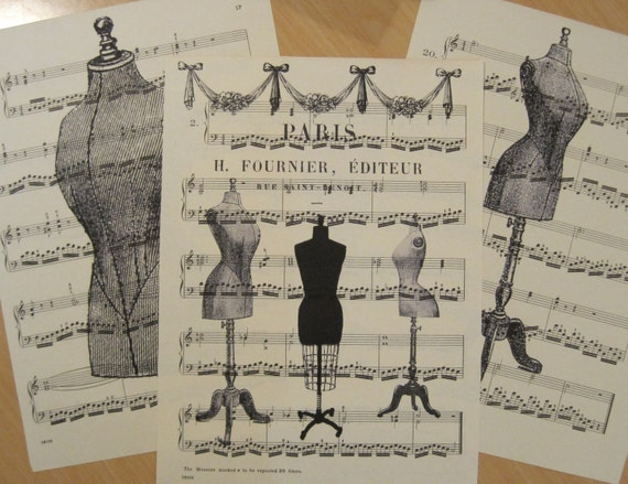 french dress forms shabby chic sheet music design 2 lot of 3