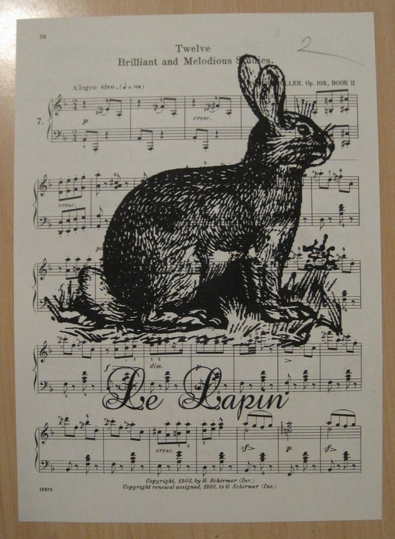 french market bunny le lapin on vintage sheet music