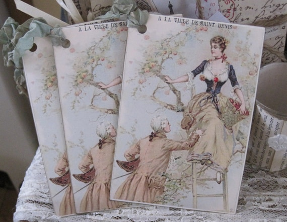 french market victorian couple french market tags set of 6