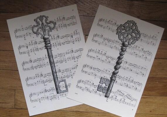 vintage skeleton keys on sheet music set of 2