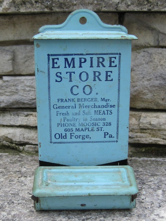 vintage metal match box empire store co. aqua color