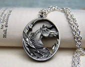 Horse Necklace Horse Jewelry Equestrian Pewter Horse on Silver Chain