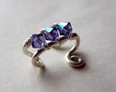 Ear Cuffs Sterling Silver Ear Cuff Tanzanite Jewelry Swarovski Crystals Wire Wrapped