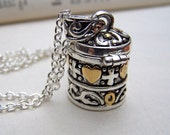 Prayer Box Necklace Silver Locket Necklace  Wish Box Locket Jewelry Silver Gold