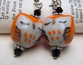 Cute Little Sleeping Owls Orange Owls Earrings Owl Jewelry Holiday Earrings
