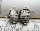 Owl Jewelry Cute Little Porcelain - Black Owl Earrings