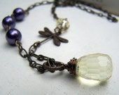Dragonfly Necklace - Dragonfly Jewelry -  Purple Pearl Vintage Inspired Neo Victorian
