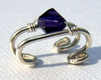 Silver Ear Cuff Wire Wrapped Purple Ear Cuffs Amethyst Swarovski Crystal