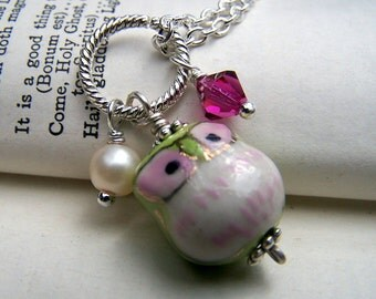 Green Owl Necklace with Pink Swarovski Crystal Jewelry Girls Teens Tweens