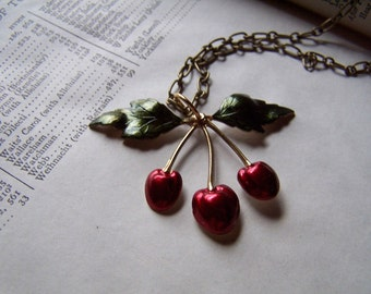 Rockabilly Jewelry Rockabilly Necklace Wild Cherry Handmade Antiqued Brass Graduation Gift