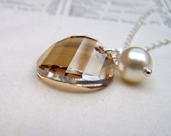 Prom Jewelry Swarovski Crystal Necklace Swarovski Jewelry Gift Sterling Silver Pearl Jewelry