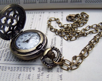 Locket Watch Necklace Vintage Inspired Neo Victorian Romantic Pocket Watch
