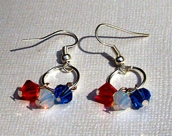 Independence Day Holiday Earrings Red White and Blue Patriotic Earrings Holiday Jewelry