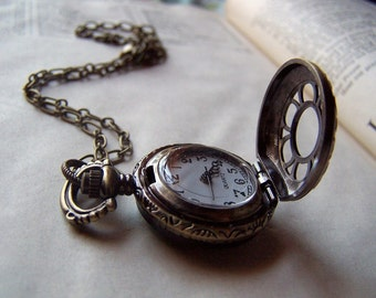 Locket Watch Necklace Vintage Inspired Neo Victorian Jewelry Pocket Watch
