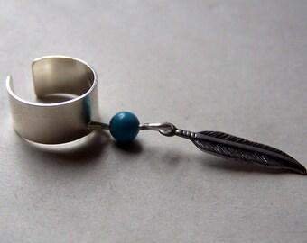 Feather Ear Cuff Dream Catcher Silver Ear Cuffs Turquoise Jewelry Dreamcatcher Jewelry