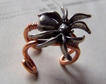 Goth Body Jewelry Spider Earrings Spider Jewelry Copper Ear Cuff Ear Cuffs Black Widow Brown Recluse