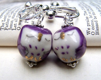 Purple Owl Earrings Cute Little Sleeping Owl Clip on Earrings