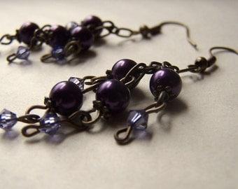 Purple Pearl Earrings Neo Victorian Vintage Inspired Antiqued Brass Swarovoski