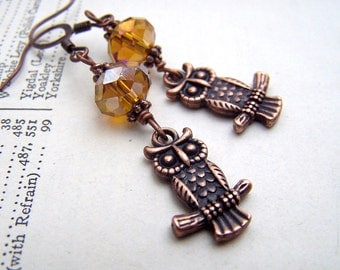 Owl Earrings - Copper Earrings - Owl Jewelry - Cute Little Owls -Copper Jewelry