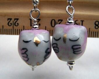 Pink Owl Earrings Cute Little Sleeping Porcelain Handmade Owl Jewelry