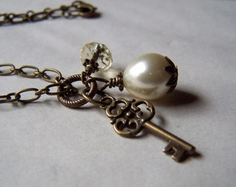 Key Necklace Vintage Necklace Pearl Jewelry Neo Victorian Necklace Victorian Jewelry
