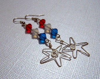 Red White Blue Earrings Holiday Earrings Holiday Jewelry Independence Day Star Patriotic