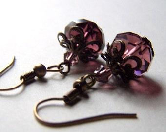 Vintage Earrings, Estate Style Jewelry Purple Earrings Vintage Inspired Neo Victorian Romantic