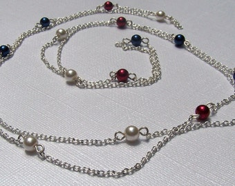 Extra Long Necklace Independence Day Red White and Blue Patriotic Long and Lux Necklace
