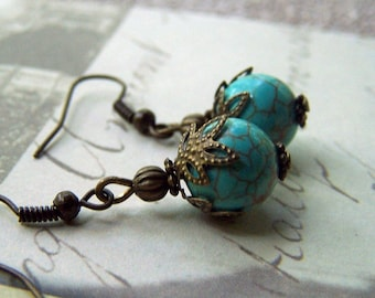 Little Turquoise Earrings Vintage Earrings Delicate Dainty Turquoise Jewelry Neo Victorian Small Dangle Earrings Drop Earrings Clip ons